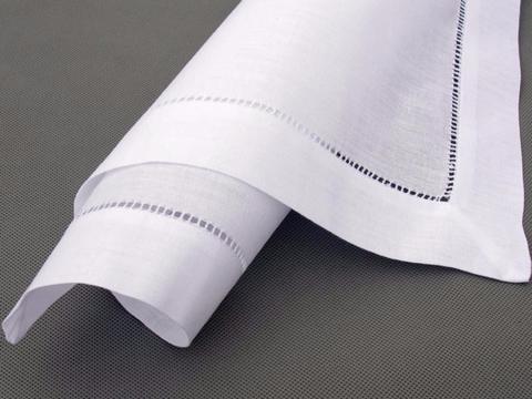 Льняная белая салфетка с мережкой 50х50 см