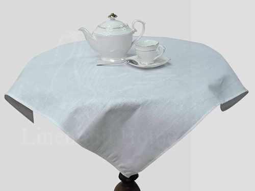 Белая жаккардовая скатерть с салфетками 95х95 см