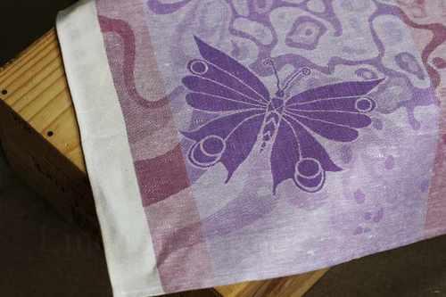 Сиреневое кухонное полотенце с рисунком Бабочки 50х70 см