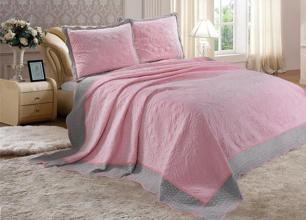 Покрывало с наволочками Velour розовый