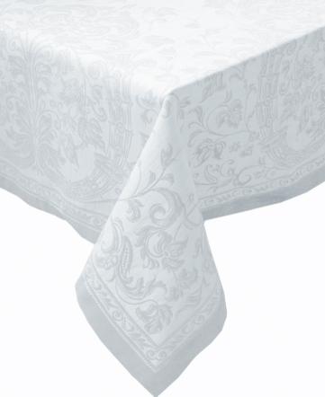 Белая льняная скатерть с мережкой Шитьё 140х170 см