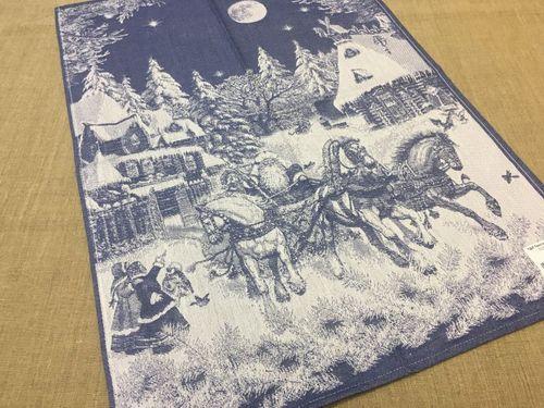 Новогоднее полотенце тройка Деда Мороза 50х70 см