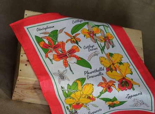 Льняное полотенце Музыка цветов 50х70 см