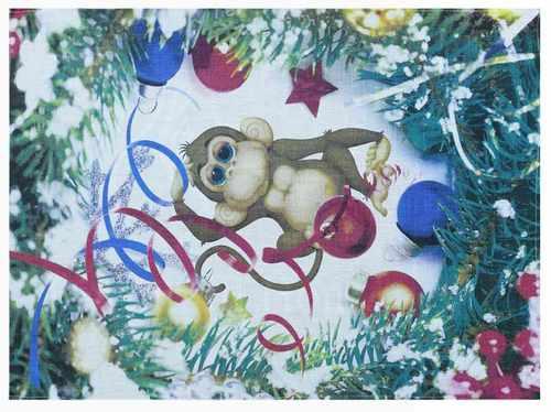 Льняное новогоднее полотенце Год Обезьяны 50х70 см