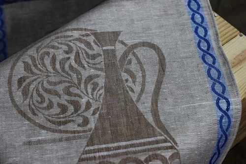 Льняное полотенце Керамика голубое 50х90 см