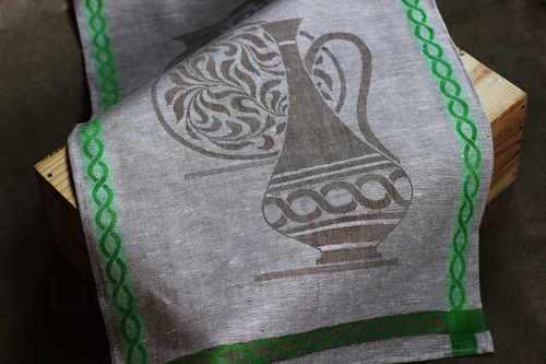Льняное полотенце Керамика зеленое 50х90 см