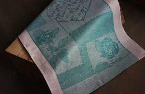 Льняное полотенце Валентинка голубое 50х70 см