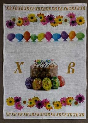 Пасхальное полотенце с куличом 50х70 см