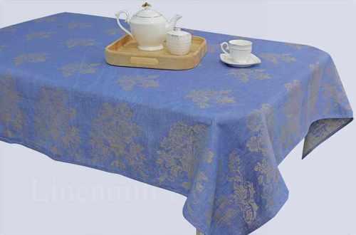 Синяя льняная скатерть Касандра 150х250 см