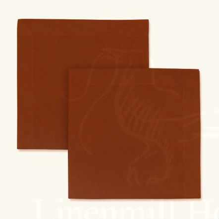 Столовая льняная салфетка цвета охра 45х45 см