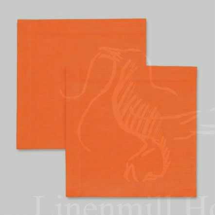 Столовая льняная салфетка оранжевая 40х40 см