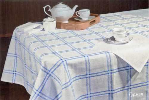 Кухонная льняная скатерть Морская 143х143 см