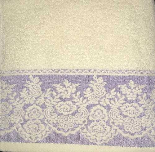Махровое полотенце 50х90 GARDEN CREAME-PURPLE, кремовый/пурпурный