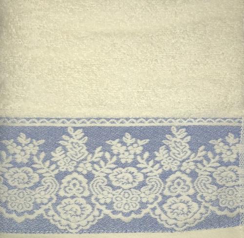 Махровое полотенце 50х90 GARDEN CREAM-BLUE, кремовый/голубой