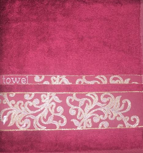 Махровое полотенце 70х140 BAMBOO JACQUARD burgundy, бургунди
