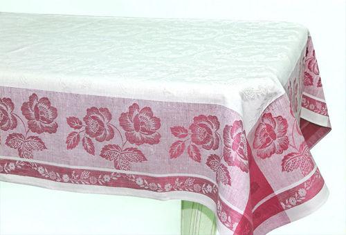 Белая жаккардовая скатерть с красным рисунком Елизавета 150х200 см