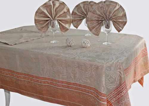 Большая льняная скатерть с салфетками Франческа 175х245 см