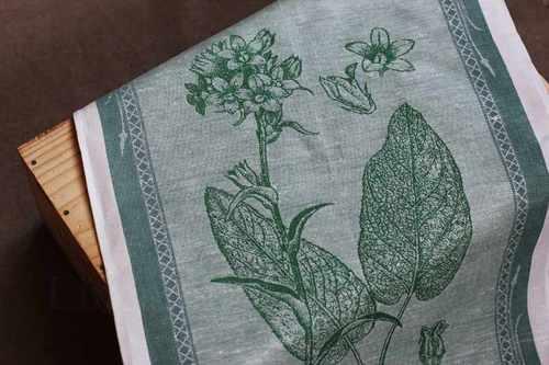 Зеленое кухонное полотенце с рисунком Колокольчик 50х70 см