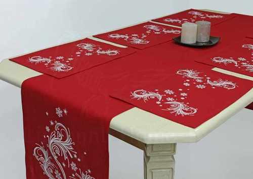 Комплект столовый к праздникам Метель Red 40х250 см