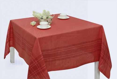 Красная льняная скатерть 150х150 см