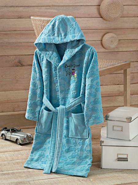 Детский халат с капюшоном BARNEY Blue