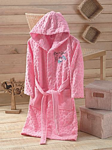 Детский халат с капюшоном BETTY Pink