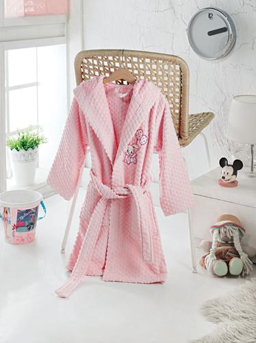 Детский халат с капюшоном PINKY Pink
