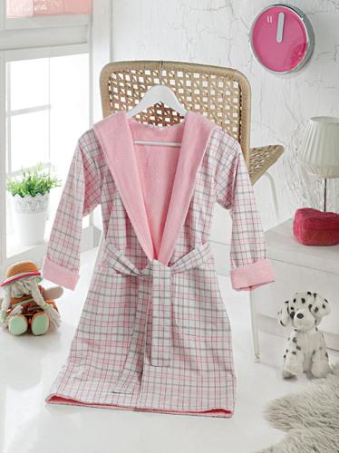 Детский халат с воротником-шалькой MARY Pink