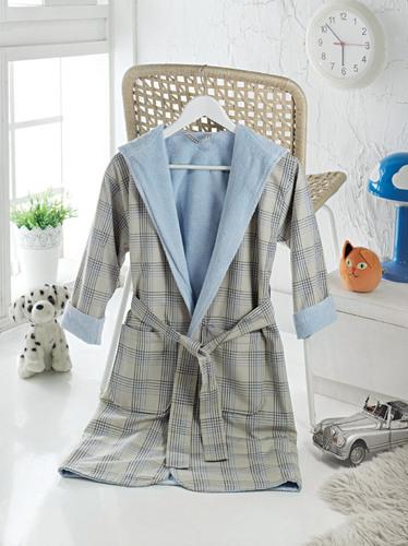 Детский халат с воротником-шалькой LEAKEY Blue