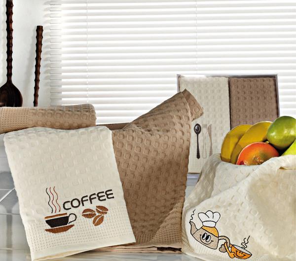 Набор вафельных салфеток с вышивкой ЛОЖКА-ВИЛКА (2 шт)