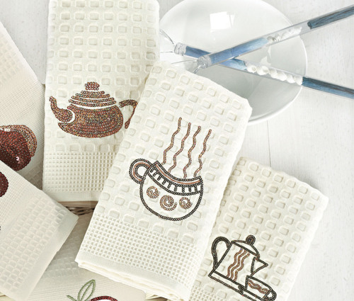 Набор вафельных салфеток с пайетками ЧАЙНИК (2 шт)