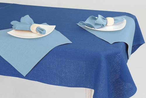 Синяя скатерть с салфетками Ice Blue 144х144 см