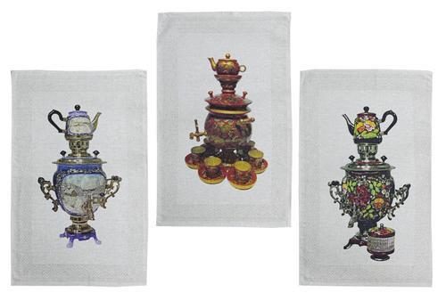Набор кухонных льняных полотенец Самовары