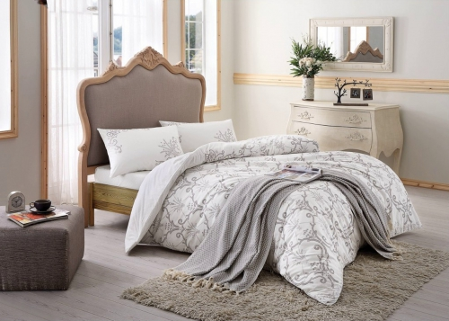 Постельное белье Leslie серый двуспальный
