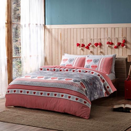 Постельное белье Winter красный двуспальный