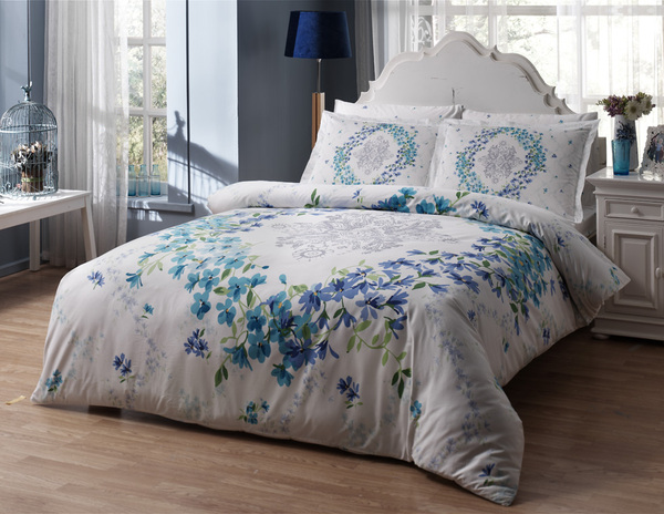 Постельное белье SATIN DELUX SONORA, WHITE/BLUE