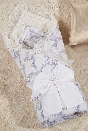 Одеяло-конверт Бамбини Кружево (голубой)