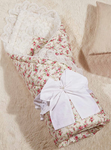 Одеяло-конверт Бамбини Кружево (розовый)