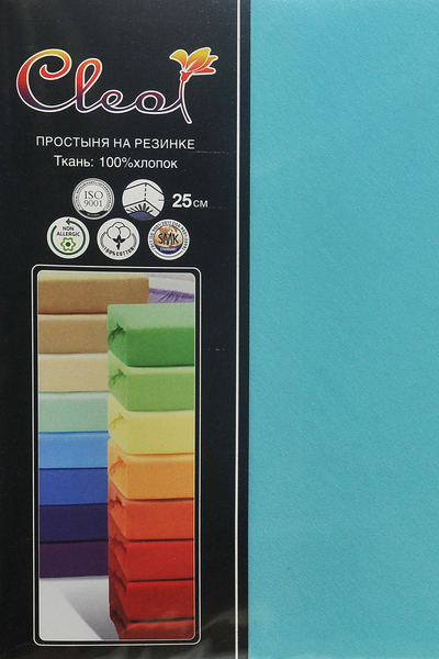 Простыня на резинке Cleo Turquoise 200х200 см
