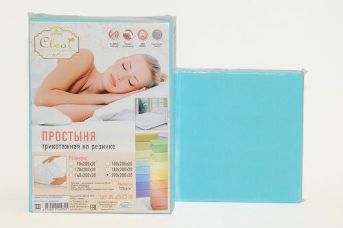 Простыня трикотажная на резинке Cleo Turquoise 90х200 см