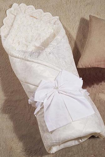 Одеяло-конверт Бамбини Кружево (молочный)
