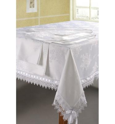 Белая скатерть SL 180х360 с салфетками 40х40 13 предметов