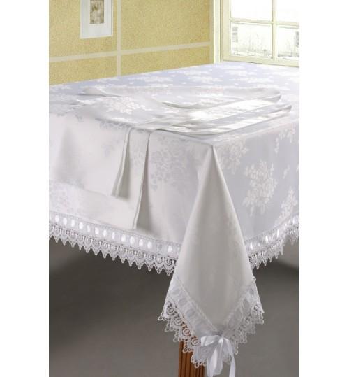 Белая скатерть SL 180х500 с салфетками 40х40 19 предметов