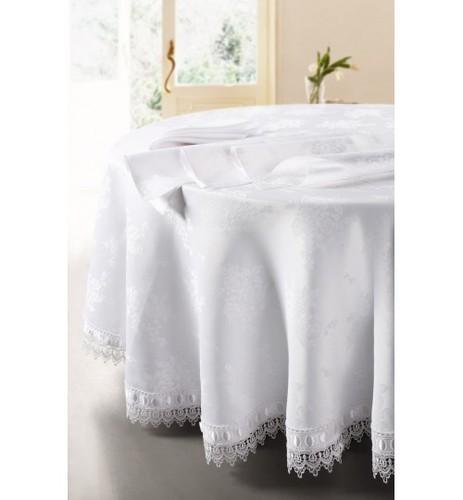 Белая круглая скатерть SL 180 см с салфетками 40х40 5 предметов