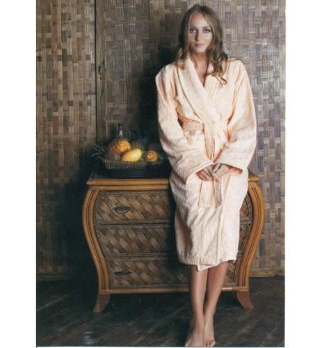 Банный халат SL с шалькой M (48) персиковый