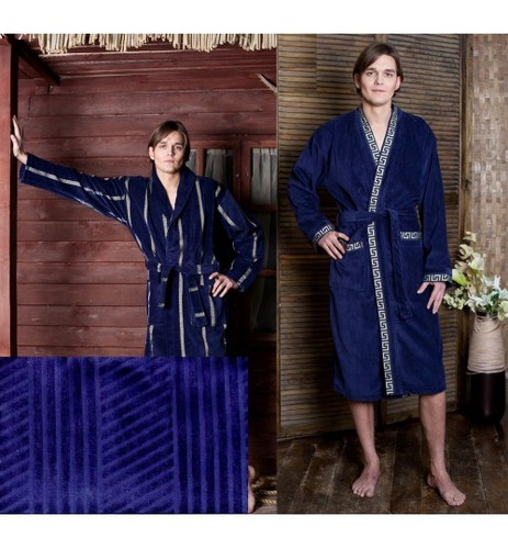 Мужской банный халат SL XL (52) синий
