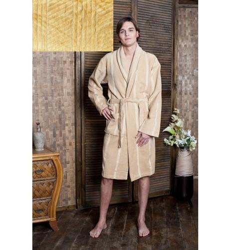 Мужской банный халат SL XL (52) бежевый