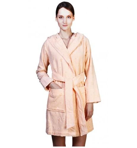 Короткий банный халат SL M (48) персиковый