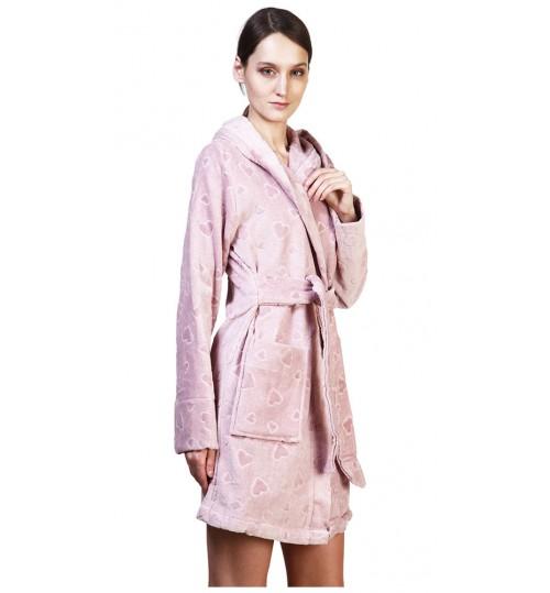 Короткий банный халат SL XS (44) розовый