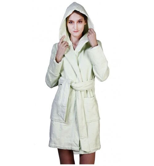 Короткий банный халат SL XS (44) салатовый